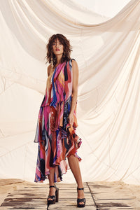 ASSYMETRICAL NECK TIE DRESS FOLK RIVER