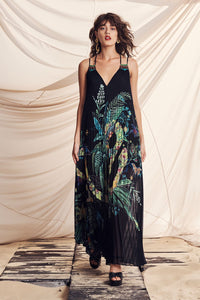 PLEATED MAXI DRESS WITH YOKE RIVER CRUISE