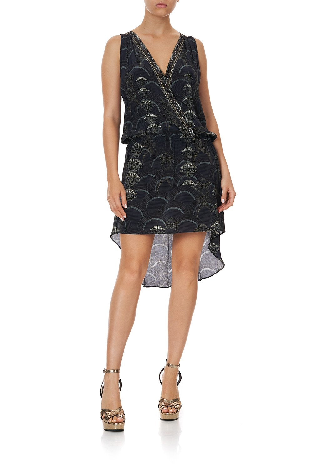 CROSS OVER DRESS WITH LONG BACK WISE WINGS