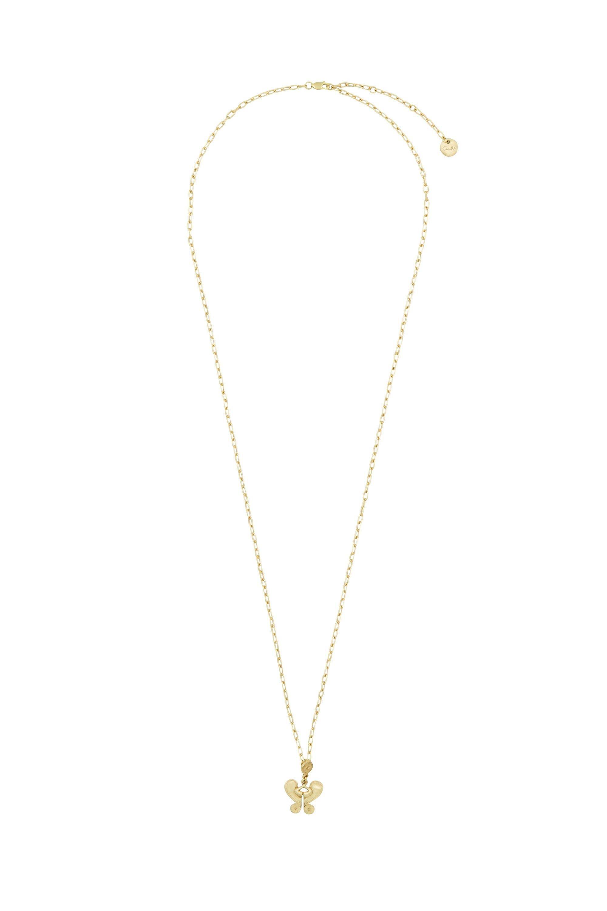 GOLD BRASS ETCHED MOTIF NECKLACE