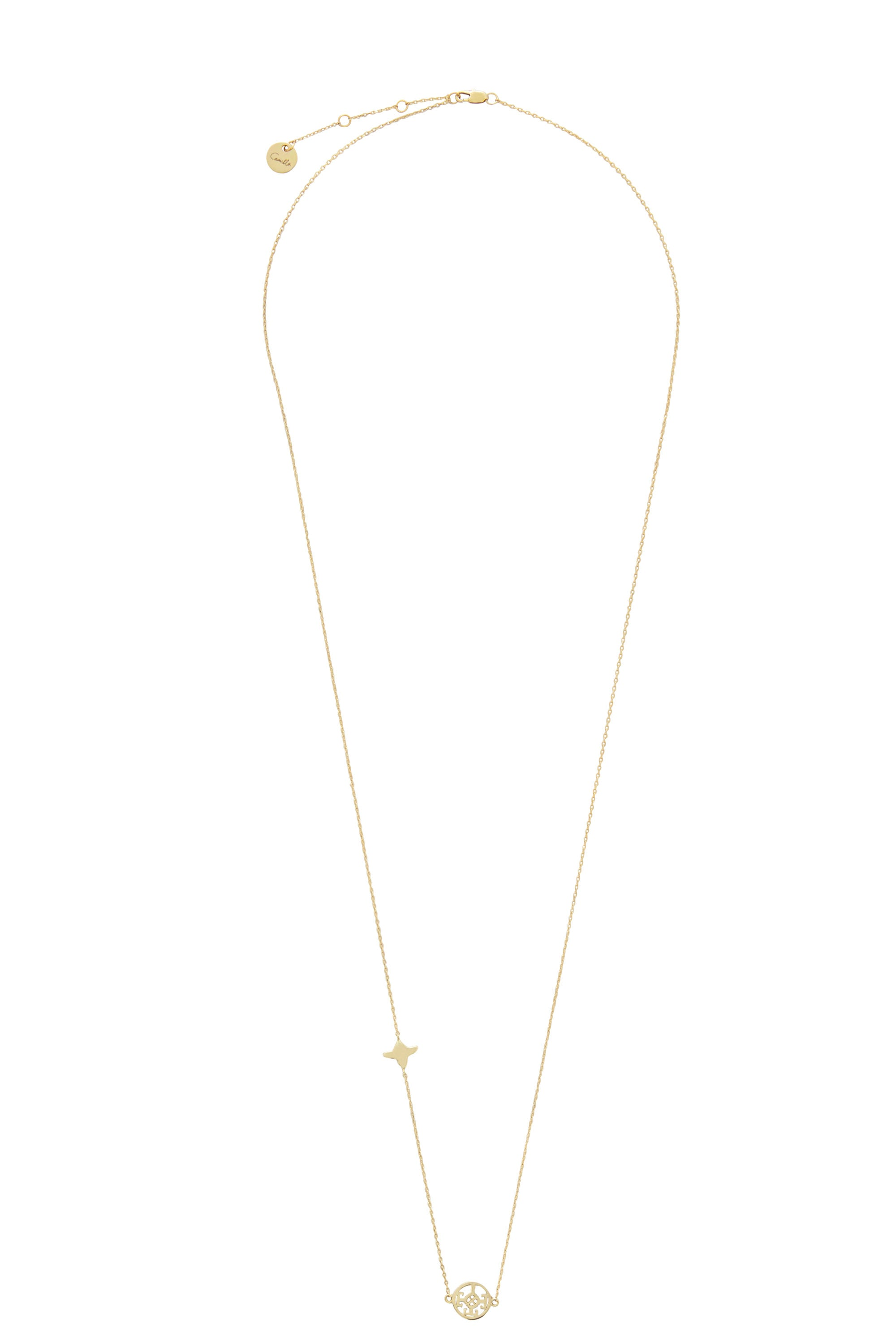 GOLD BRASSS CUT OUT PENDANT NECKLACE