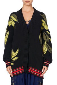 KNIT CARDIGAN WITH FRONT WELT POCKETS WINGS IN ARMS