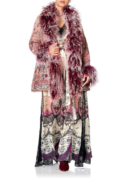 KNIT JACQUARD COAT WITH FUR ALL MY AVIGNON