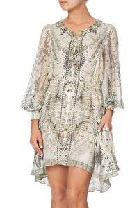 LACE UP SHIRRED WAIST DRESS DAINTREE DREAMING