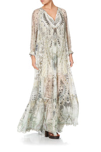 LONG GATHERED PANEL DRESS DAINTREE DREAMING