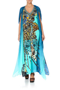 LONG KAFTAN WITH OVERLAY DETAIL MARINE QUEEN