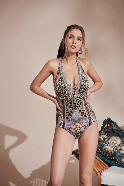 PINTUCK LACE UP HALTER ONE PIECE MARAIS AT MIDNIGHT