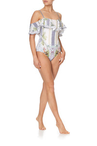 OFF SHOULDER FRILL ONE PIECE BEACH SHACK