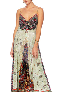 THE CARAVAN LONG DRESS W TIE FRONT