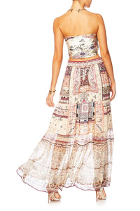 ON THE ROAD TIERED HEM MAXI SKIRT