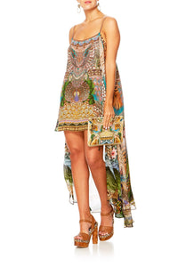 A WOMANS WISDOM MINI DRESS W LONG OVERLAY