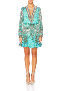THE SPIRIT WITHIN SHIRRED RELAXED SHORT DRESS