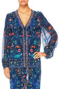 KINDNESS KALEIDOSCOPE PEASANT BLOUSE W FRONT LACING