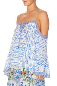 POLKA FACE DROP SHOULDER TOP
