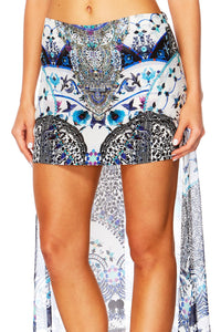 IN THE CONSTELLATIONS DOUBLE LAYER SHORT SKIRT W LONG BACK