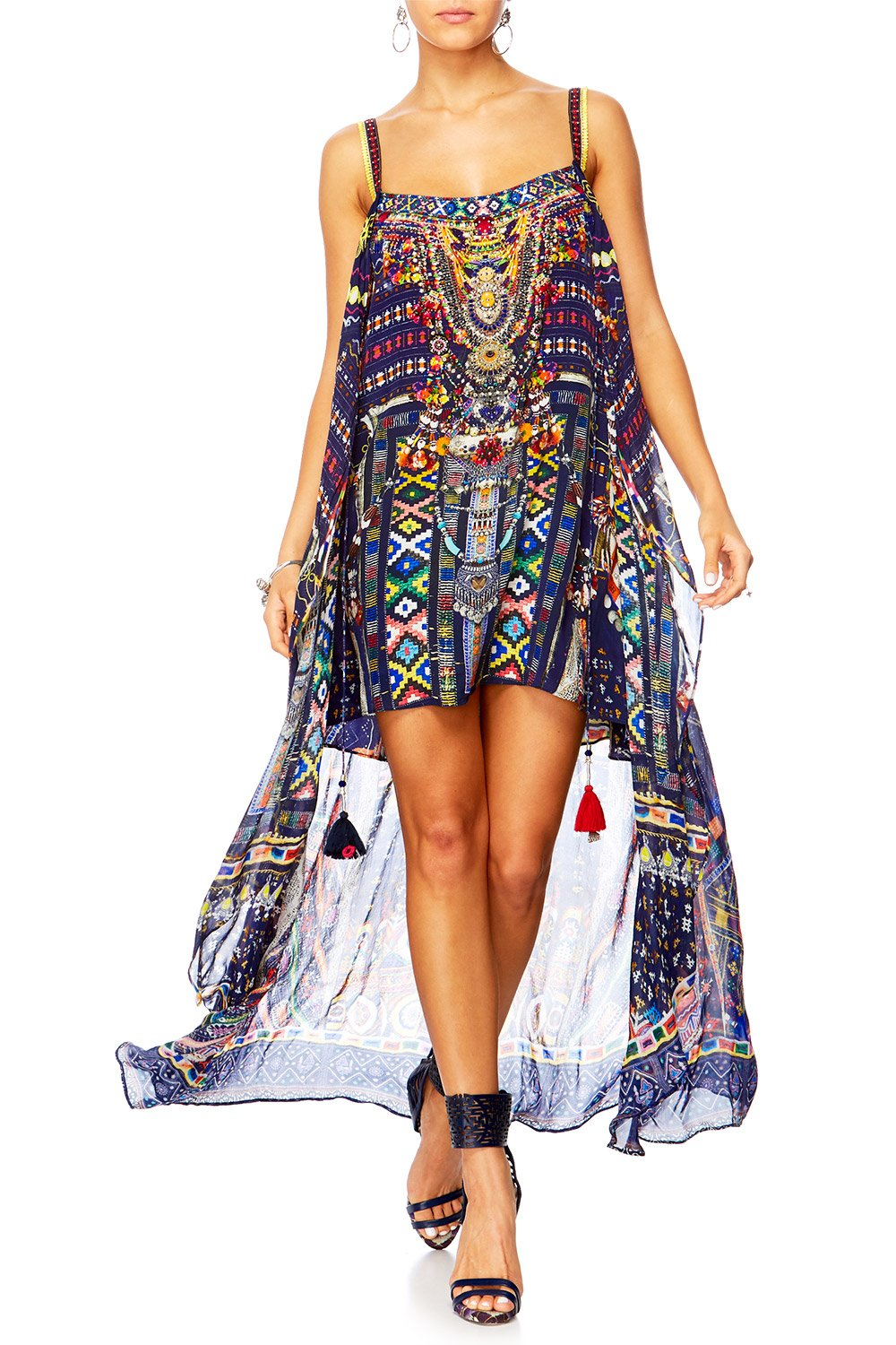 WHERE YOULL FIND ME MINI DRESS W LONG OVERLAY