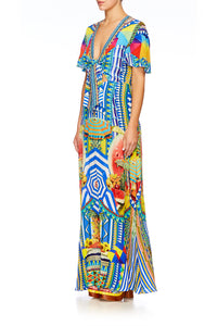BOOK A SHADE TIE FRONT MAXI DRESS