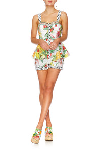 THERES NO PLACE LIKE RIO FITTED PLAYSUIT W PEPLUM