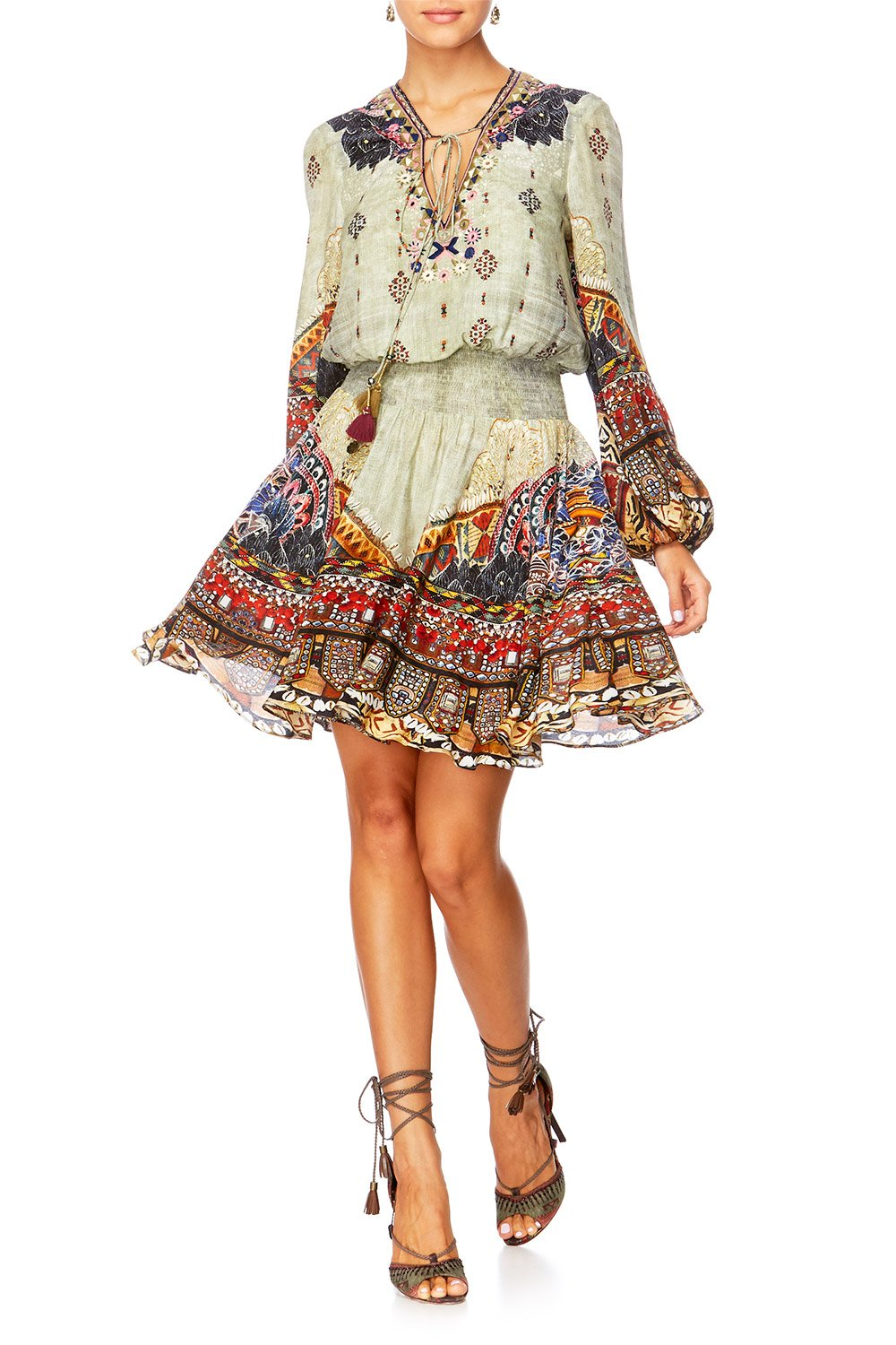 THE CARAVAN SHIRRED RELAXED SHORT DRESS