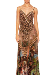 THE GYPSY LOUNGE CROSS OVERLAY HALTER DRESS