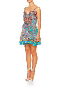 CAMILLA CANVAS OF COLOUR MINI BUTTON DOWN FRILL DRESS