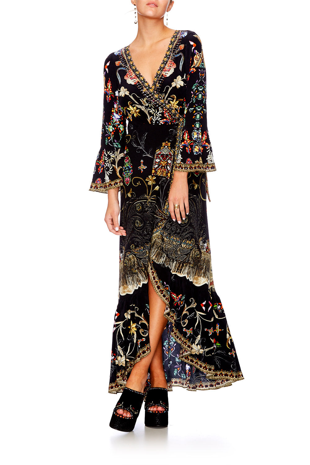 DANCING IN THE DARK LONG SLEEVE WRAP DRESS
