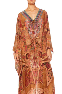 FAMILY GATHERING SPLIT LACE UP HEM KAFTAN