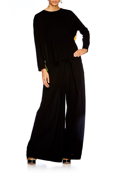 BLACK OVERSIZED PLEAT PANT
