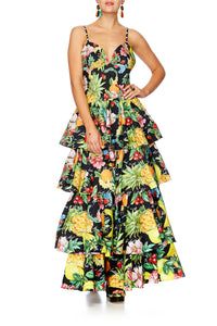 CALL ME CARMEN GATHERED TIERED DRESS