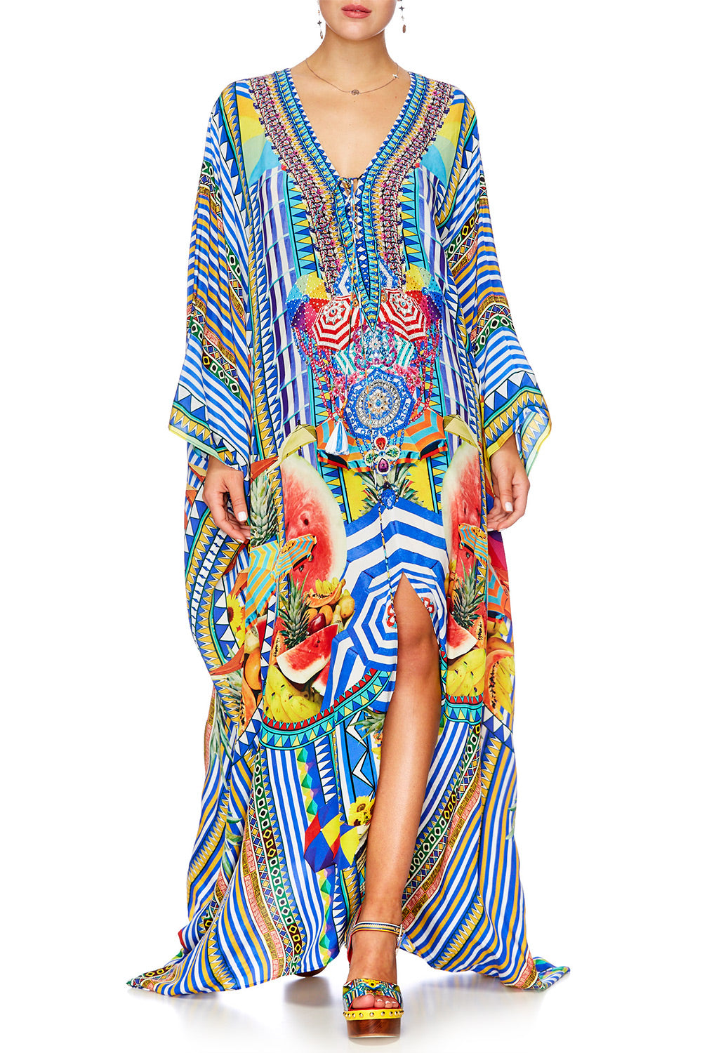 BOOK A SHADE SPLIT HEM LACE UP KAFTAN
