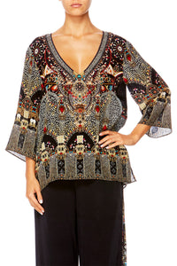 CHAMBER OF REFLECTIONS V-NECK OVERSIZED BLOUSE