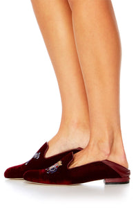 BURGUNDY VELVET SLIPPER WITH FOLDED HEEL