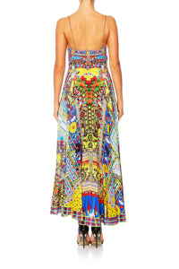 INSIDE MY MIND LONG DRESS W TIE FRONT