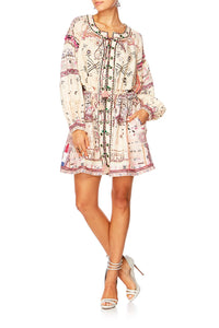 ON THE ROAD BISHOP SLEEVE SHORT DRESS