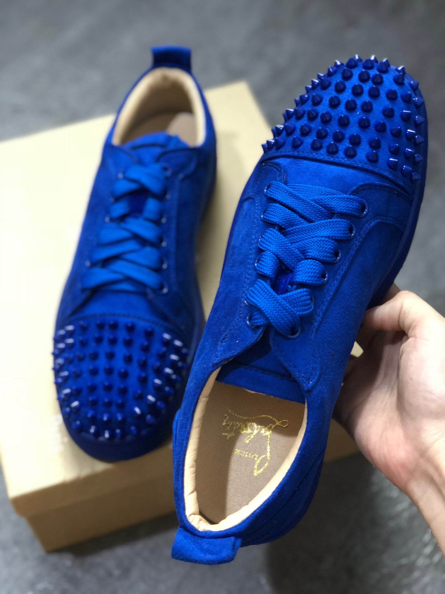 5af7efb3abf9 Blue Suede Low Top Louboutin Sneakers – Antigua fashion