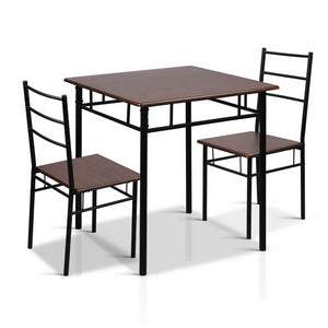 13e7ef97420f4 Artiss Metal Table and Chairs - Walnut   Black ...