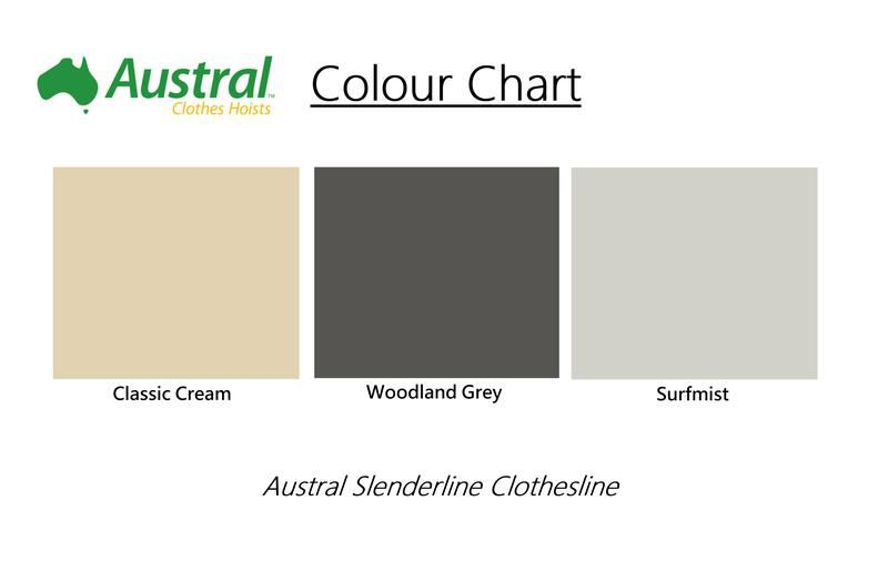 Austral Slenderline 20 Clothesline - Classic Cream Right Side View - Clotheslines Installation Australia
