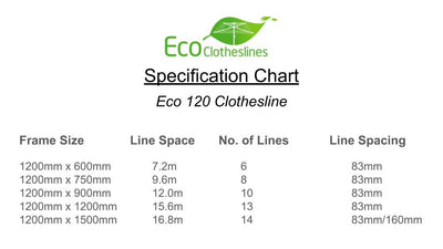 Eco 120 Clothesline - Specification Chart - Clothesline Installation Australia