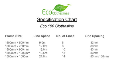Eco 150 Clothesline - Specification Chart - Clothesline Installation Australia