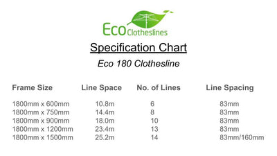 Eco 180 Clothesline - Specification Chart - Clothesline Installation Australia