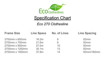 Eco 270 Clothesline - Specification Chart - Clothesline Installation Australia
