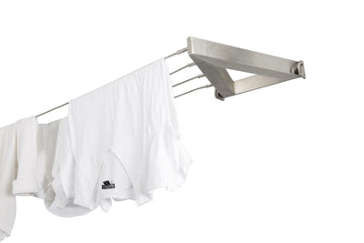 Evolution 316 Stainless Steel Clothesline - 4 Line Stainless Steel Right Side Perspective With Hanged Shirt - Clothesline Installation Australia
