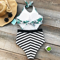Green Leaf Print Tied Halter Cutout Backless Striped