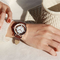 Unique Stylish Double Hollow Lady Watches Elegant Casual Quartz Wristwatch