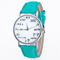 Ladies Watch Fashion Math Function Pattern Leather Band Alloy Analog Quartz