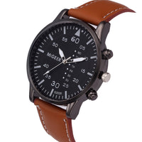Retro Design Watch Men Leather Band Analog