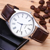 New Fashion Mens Watches Simple Letters Casual Leather Waterproof Quartz Wristwatches
