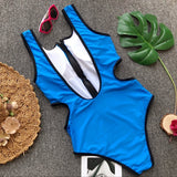 Solid hollow out bikini set Thong one-piece suits push up