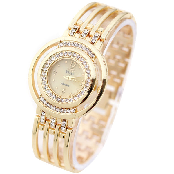 Luxurious Strap  Watch Round Dial Bracelet