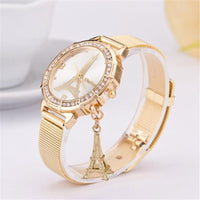 Gold Stainless Steel Mesh Strap Quartz-Watch Clock Luxury Crystal Paris Eiffel Tower Watches